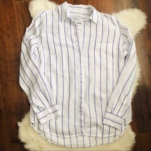 Rails blue and white striped button down top